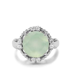 Prehnite & White Zircon Sterling Silver Ring ATGW 7.16cts