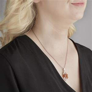 AA Orange, Honey American Fire Opal Pendant with White Topaz in Sterling Silver 3.11cts