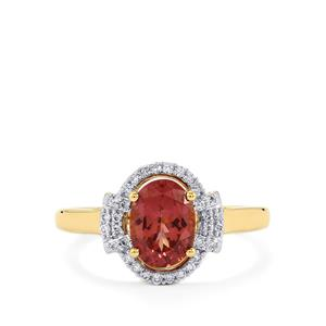 Mahenge Purple Spinel Ring with Diamond in 14K Gold 1.64cts