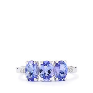 Tanzanite & Diamond Sterling Silver Ring ATGW 2.27cts