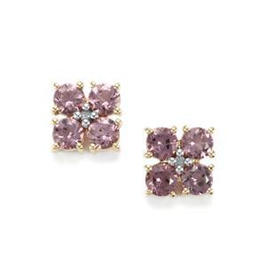 Mahenge Pink Spinel & Diamond 9K Gold Earrings ATGW 1.53cts.