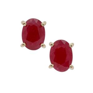2.10ct Burmese Ruby 9K Gold Earrings