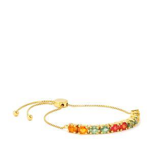 Rainbow Sapphire Slider Bracelet in Gold Vermeil 4.88cts