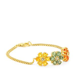 Rainbow Sapphire Bracelet in Gold Vermeil 7.85cts