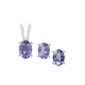 Tanzanite Set of Pendant & Earnings in Sterling Silver 1.67cts