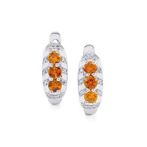 Cognac Zircon & White Topaz Sterling Silver Earrings ATGW 2.33cts