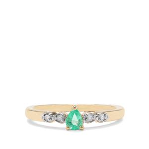 Colombian Emerald & Diamond 9K Gold Ring  ATGW 0.26ct