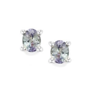 0.72ct Bi Colour Tanzanite Sterling Silver Earrings
