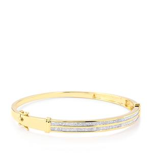 Diamond Oval Bangle in 10k Gold 2.50ct