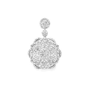 Diamond Pendant in Sterling Silver 3.05cts