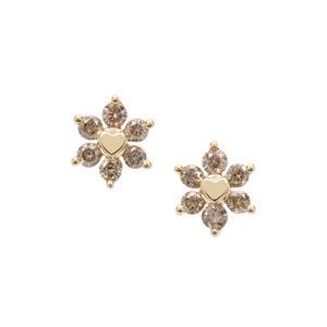 Champagne Diamond Earrings in 9K Gold 0.34ct