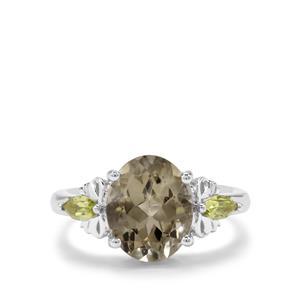 Prasiolite & Changbai Peridot Sterling Silver Ring ATGW 3.62cts