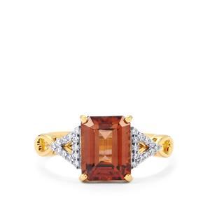 Zanzibar Sunburst Zircon Ring with Diamond in 18k Gold 3.81cts
