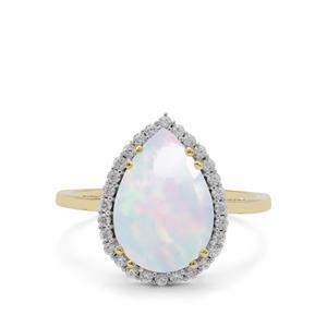 Kelayi Ethiopian Opal Ring with White Zircon in 9K Gold 2.71cts