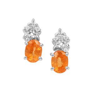 Mandarin Garnet Earrings with White Zircon in Sterling Silver 2.39cts