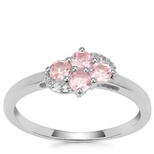 Mozambique Pink Spinel Ring with White Topaz in Sterling Silver 0.54ct