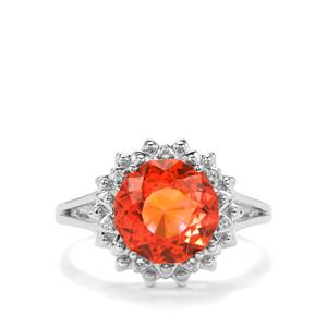Lotus Cut Padparadscha Quartz Ring with White Topaz in Sterling Silver 3.58cts
