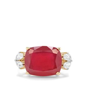 Malagasy Ruby Ring with White Zircon in 9K Gold 14.87cts (F)