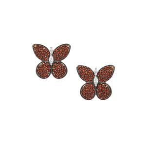 Anthill Garnet Butterfly Earrings with White Zircon in Sterling Silver 1.86cts