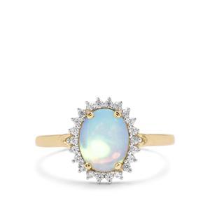 Kelayi Opal & White Zircon 9K Gold Ring ATGW 1.24cts