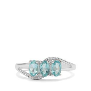 1ct Madagascan Blue Apatite Sterling Silver Ring