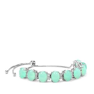 Prase Green Opal Slider Bracelet with White Zircon in Sterling Silver 15.33cts