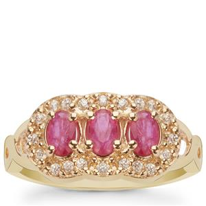 Montepuez Ruby Ring with White Zircon in 9K Gold 1.10cts