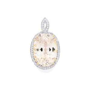 Ice Kunzite Pendant with Diamond in 18k Gold 15.91cts