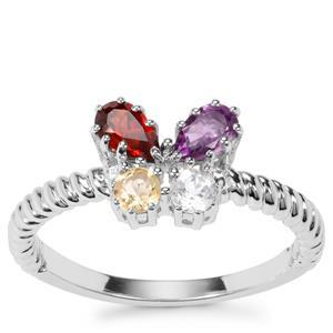 Kaleidoscope Gemstones Orbs of Light Ring in Sterling Silver 0.72ct