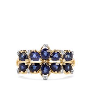 Sri Lankan Sapphire & White Zircon 9K Gold Ring ATGW 1.78cts