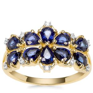 Sri Lankan Sapphire Ring with White Zircon in 9K Gold 1.78cts