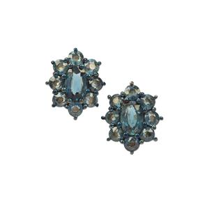 2.26ct Natural Nigerian Blue Sapphire 9K Gold Earrings