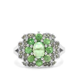 Tsavorite Garnet & Alexandrite Sterling Silver Ring ATGW 2.71cts