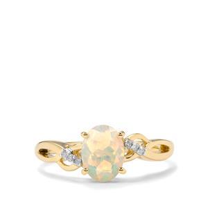 Ethiopian Opal & Diamond 9K Gold Ring ATGW 0.79cts