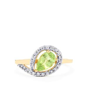 Merelani Mint Garnet & White Zircon 9K Gold Ring ATGW 1.14cts