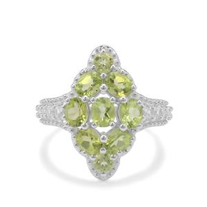 Red Dragon Peridot Ring with White Zircon in Sterling Silver 3.75cts