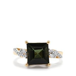 Green Tourmaline Ring with Diamond in 18K Gold 4.55cts