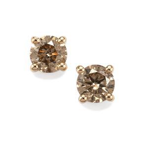 Champagne Diamond Earrings in 10k Gold 1cts