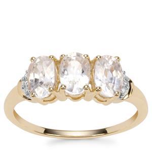 Singida Tanzanian Zircon Ring with Diamond in 10k Gold 2.69cts