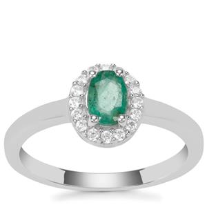 Zambian Emerald Ring with White Zircon in Sterling Silver 0.61cts