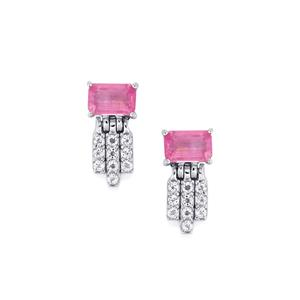 Ilakaka Hot Pink Sapphire Earrings with White Topaz in Sterling Silver 2.15cts (F)