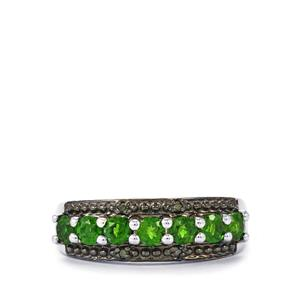 Chrome Diopside Ring with Green Diamond in Sterling Silver 0.89cts