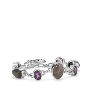 Pink Flash Labradorite Bracelet with Bahia Amethyst in Sterling Silver 24cts