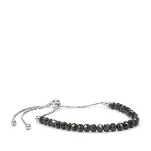 Black Spinel Bead Slider Bracelet in Sterling Silver 15cts