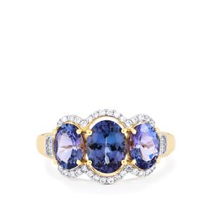 AA Tanzanite Ring with White Zircon in 10K Gold 3.02cts