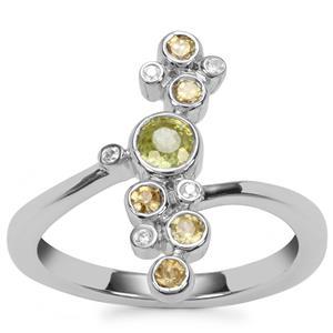 Ambilobe Sphene, Morafeno Sphene Ring with White Zircon in Sterling Silver 0.72ct