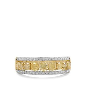 Natural Yellow Diamond Ring with White Diamond in 9K Gold 1.31cts