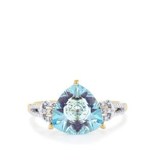 Lehrer KaleidosCut Sky Blue Topaz, Ametista Amethyst Ring with Diamond in 10K Gold 3.41cts
