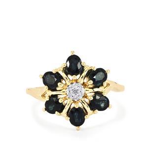 Australian Blue Sapphire & Diamond 10K Gold Ring ATGW 1.74cts