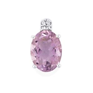 Rose De France Amethyst Pendant with White Topaz in Sterling Silver 8.06cts